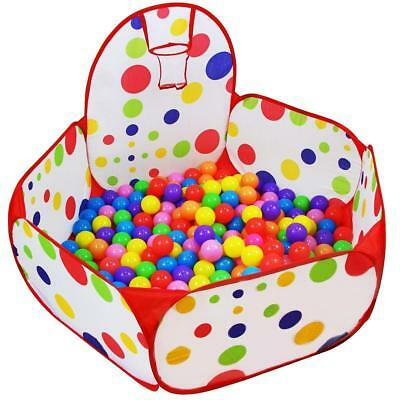 Kids Ball Pit Playpen Ball Tent Play Pool with Basketball Hoop Toy for Toddlers