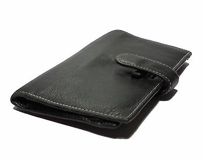 Checkbook Black Genuine Leather Wallet with Credit card organizer and photo ID