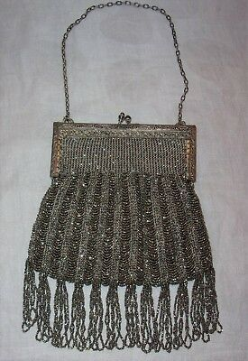 Beautiful Antique Art Deco Victorian Steel Beaded Purse-Leather Lining-Intact!