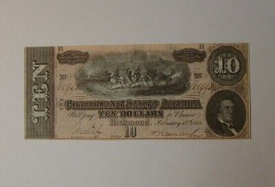 1864 $10 US Confederate States of America CRISP & SHARP - Old US Currency