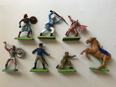 VINTAGE BRITAINS Ltd DEETAIL Timpo TOY SOLDIERS INDIANS ROMAN AND CAVALRY.