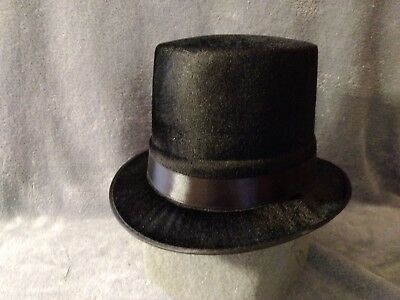 Black Flocked Top Hat~Costume Frosty Snowman Crafts