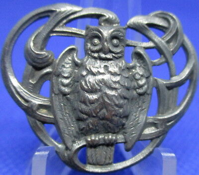 "1940s French White Metal Button ""OWL BIRD~OPEN DESIGN"" Vintage Antique Picture"