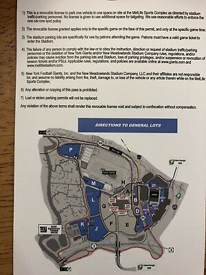 1 Blue Parking Pass Ny Giants Vs. Dallas Cowboys 12/30/18