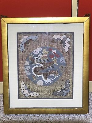 Antique Chinese ancient two-sided gold thread embroidery