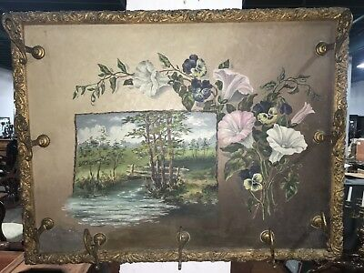 American Antique Hand Painted Coat Rack Late 1800s or Early 1900s Gilt Wood Fram
