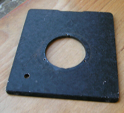 """old style  Lensboard  100mm x 89mm  x 2.9mm  4"""" x 3.5"""" metal 35.5mm hole"""