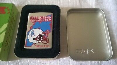 Vintage NFL Zippo Tennessee Oilers Lighter in the Original Tin-Date Code:1998