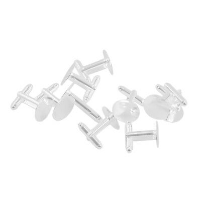 10pcs Cufflink Findings Cuff Link Blanks Backs Plates 15mm Pads Silver white