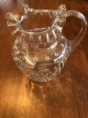 Antique Vintage Pitcher Clear Ruffled Edge Hand Painted Flowers Yellow White
