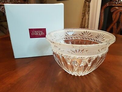 "Cristal d'Arques ""Carthage "" Crystal Serving Bowl 9"" Diameter Paris New in Box"