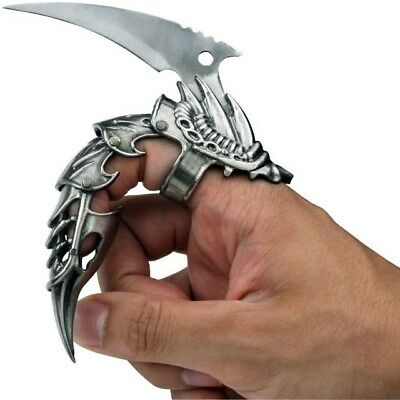 """5.5"""" Iron Reaver Stainless Steel Silver Blackened Finger Claw Fantasy Knife"""