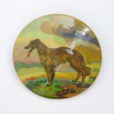 Russian Wolfhound Borzoi Hand Painted Lacquer Brooch Pin #316