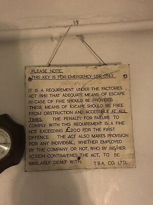 1 of 2 surviving wooden tba emergency key sign made special for turner brothers