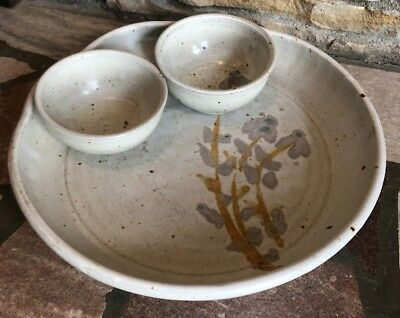 Studio Pottery Cermaics Bowl With 2 Smaller Bowls Signed Lara