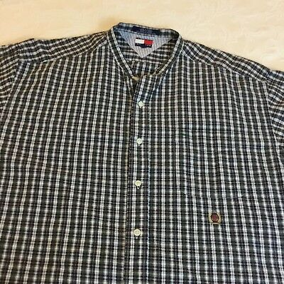 Tommy Hilfiger long sleeve shirt blue plaid band collar mens size XL easy care