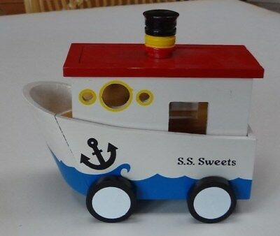 See's Candies Vintage Wooden Boat Collectible Toycontainer
