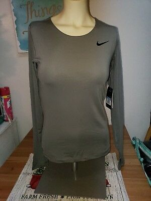 *nwt*nike Womens Medium Pro Cool Gray Long Sleeve Dri Fit Shirt 897823-039