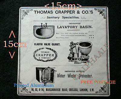 Thomas Crapper repro vintage metal advertising Sign Basin, Valve Closet, Waste