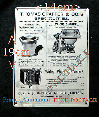 Thomas Crapper Repro vintage Ali metal advertising 19 x 14 Sign Closet, Waste