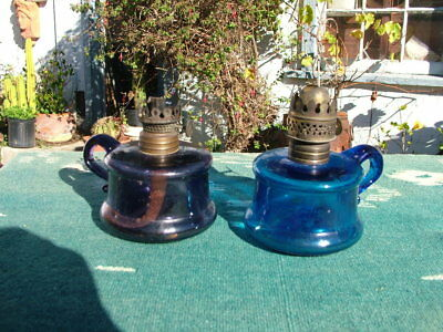 Antique Cobalt & Purple Pair Little Butter Cup Miniature Finger Oil Lamps