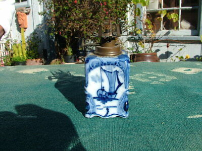 Antique Blue & White Porcelain Delft? Germany? Miniature Oil Lamp
