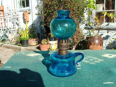 Antique Cobalt Blue Little Buttercup Minature Oil Lamp With Shade