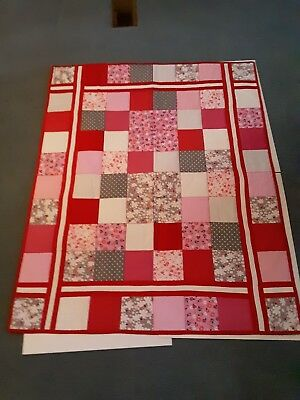 Baby Homemade Lap Size Quilt For Kids.ladybugs and flowers design.