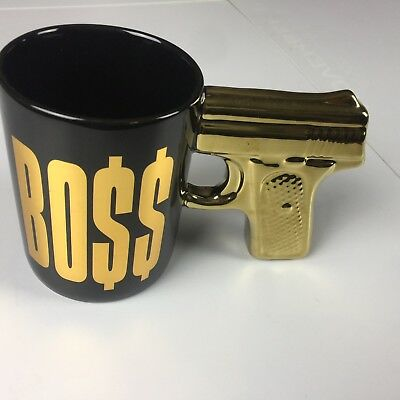Pistol Grip Gun Handle Ceramic Coffee Mug BOSS Black Gold