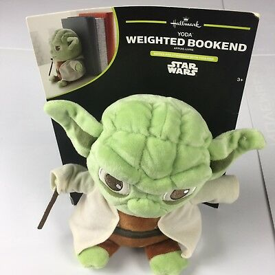 Hallmark Star Wars Yoda Plush Figure Bookend Desk Accessory New Rare
