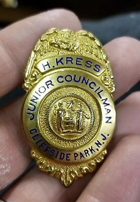 Vintage H. KRESS Junior Councilman Badge 1933 Cliffside Park New Jersey HISTORIC