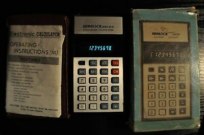 Brinlock 806 MD Calculator, 1980's, working model with original box and wallet.