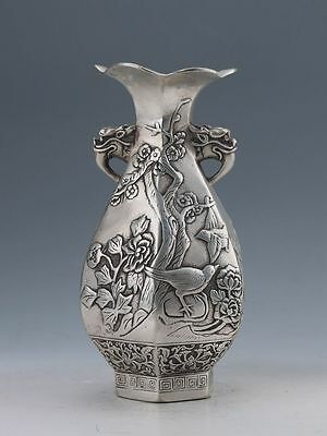 COLLECTIBLE China  ORIENTAL SILVER COPPER HANDWORK CARVED PLUM FLOWER VASE