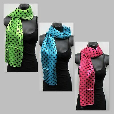 Wholesale Scarf Lot 6 PC Polka Dot Print Scarves # 1126  Mixed Pink Green Blue