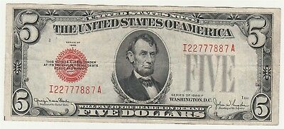 "1928-F $5 ""Red Seal"" Small United States Note *Free S/H After 1st Item*"