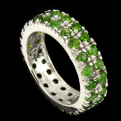 Gorgeous Round Cut 2mm Top Green Chrome Diopside 925 Sterling Silver Ring Size 8