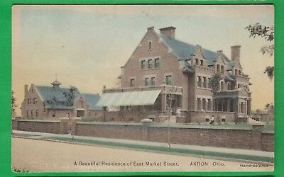 Akron Oh/ very large home on East Market Street/brick wall/ hand colored postcar