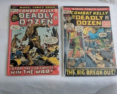 Combat Kelly #1 and #2 1972 Marvel War Comics