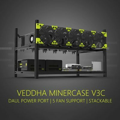 Veddha Minercase V3C 6-BAY Classic Aluminum Stackable Open Air Frame Mining Case