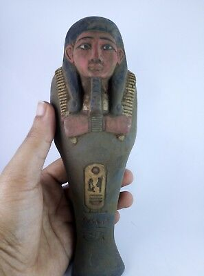 ANCIENT EGYPTIAN ANTIQUE STATUE Faience Ushabti Shabti 2350 Bc