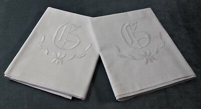 Antique Linen Pillow Case Pair Large G Monogram Ornate Floral Embroidery