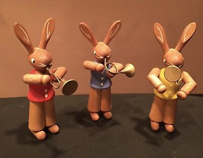 Käthe Wohlfahrt Set of 3 Wooden Rabbits with Instruments