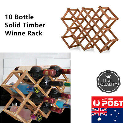 10-bottle Durable Timber Wine Rack Wooden Storage Organiser StandAssemble Gift