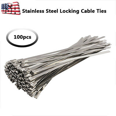 100pcs Stainless Steel Self Locking Cable Zip Ties Wrap Coated 150mm 200mm 300mm