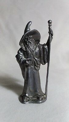 Pewter wizard with staff and crystal