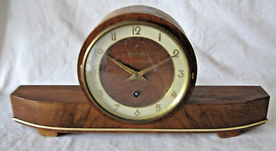 VINTAGE WEHRLE GERMANY ART DECO MANTLE CLOCK WITH KEY Over Wound
