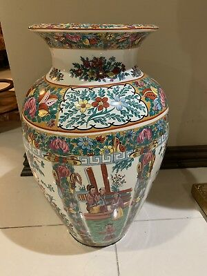 Asian Vintage Hand Painted With Sign 20 Inch Vase