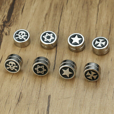 Rock Fashion Men Boy Earrings Clip On Clamp Ear Studs Luck Gift Stainless Steel