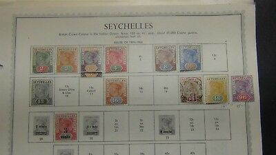 British Seychelles stamp collection on pages w/ 203 stamps or so high $$