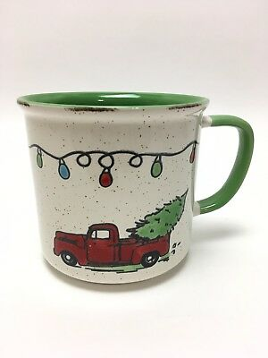 Little Red Christmas Truck Mug 18oz Bringing Home The Tree Cup Camping Style New